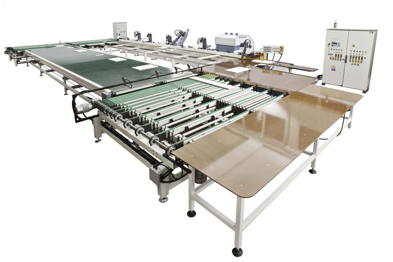 Automatic sanding line, complete with back conveyor system.